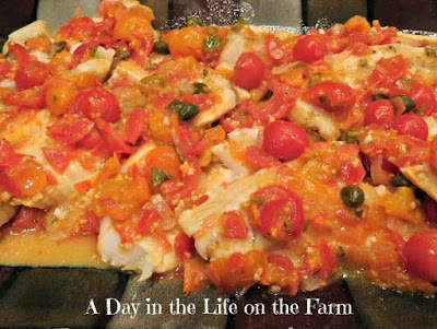 Pickerel with tomatoes and capers