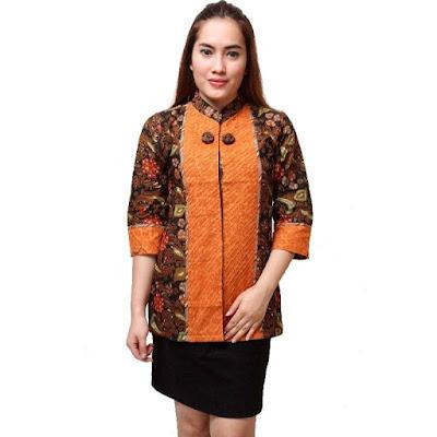 batik kantor kombinasi kain polos terbaru model baju batik atasan ...