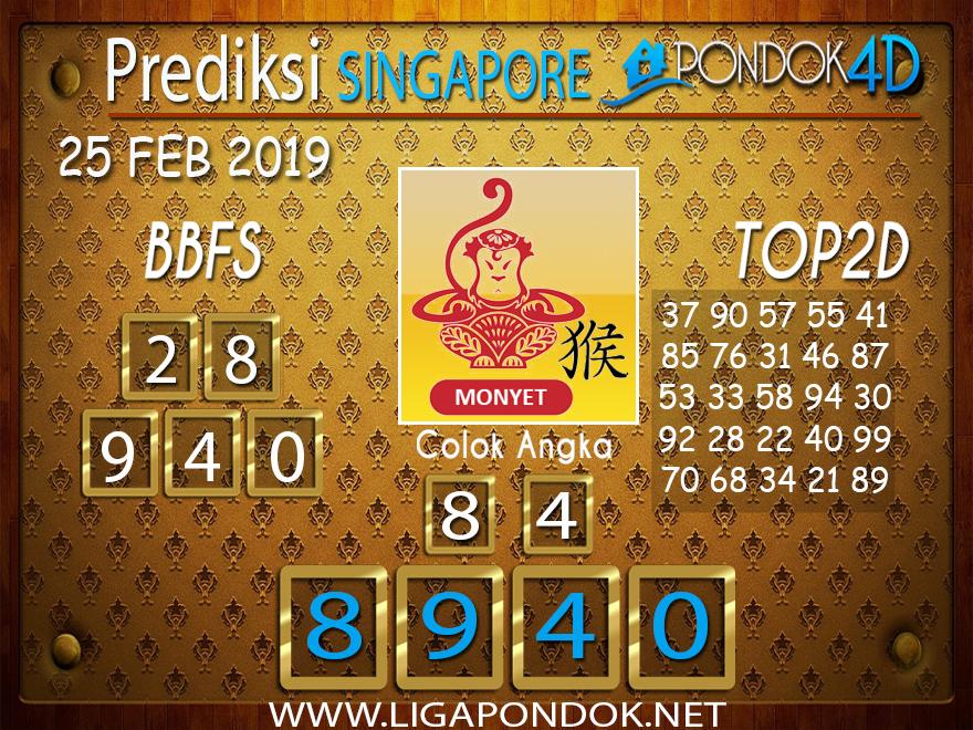 Prediksi Togel SINGAPORE PONDOK4D 25 FEBRUARI 2019