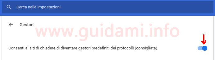 Impostazione Gestori protocolli Chrome