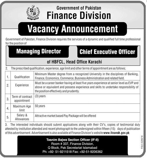 Jobs In Finance Division Pak Secretariat Islamabad 21 May 2017