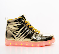 "Glitzy Sugar Kids ""ALL LIT UP"" metallic gold high top sneakers"