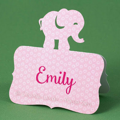 Elephant Animal Place Card for Birthday Party or Baby Shower