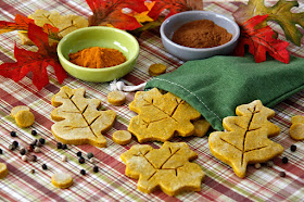 Homemade pumpkin dog treats shaped like autumn leaves on a plaid table with drawstring treat bag, leaves, and spices