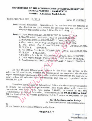 Promotions to the teachers who are retained in Districts on court orders till tion lists are redrawn and they are repatriated under GO.610 regarding ,Rc.7105 ,Dt.4/10/18