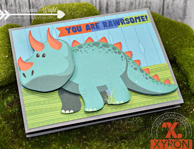 Dino Wobbler Card- You Are Rawrsome