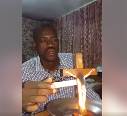 Man burns the crucifix, says it