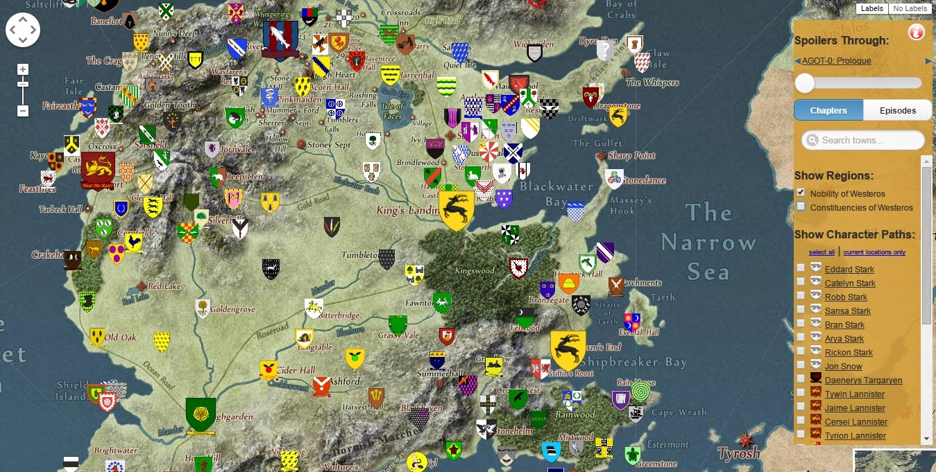 Mapa Juego De Tronos Ingles.Mapa Interactivo De Game Of Thrones Al Estilo Google Maps