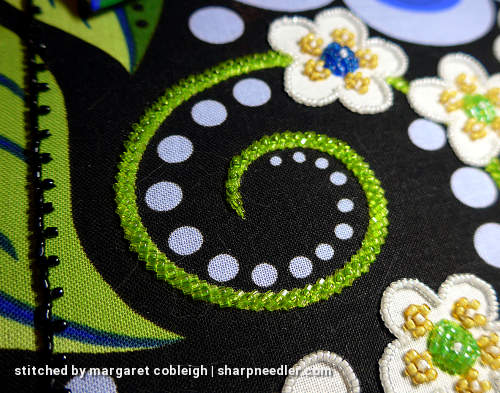 First green tendril completed with beautiful beading. (Wild Child Japanese Bead Embroidery by Mary Alice Sinton)