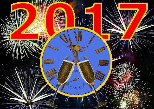zyczenia happy new year, do siego roku, 2017, kieliszki szapana, fajerwerki, fireworks