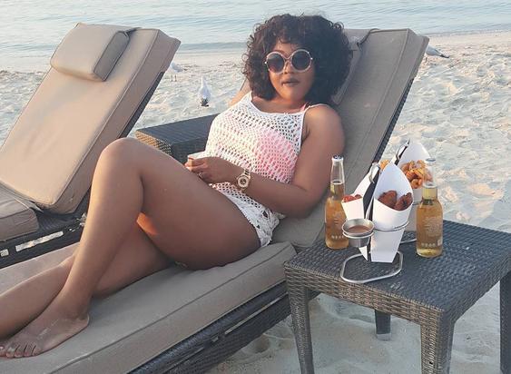 Mercy Aigbe Flaunts Hot Legs At Dubai Beach (Photos)