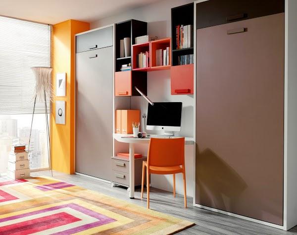 Amueblar una habitaci n con 2 camas abatibles - Literas plegables verticales ...