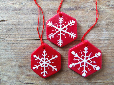cornstarch clay ornaments with snowflakes