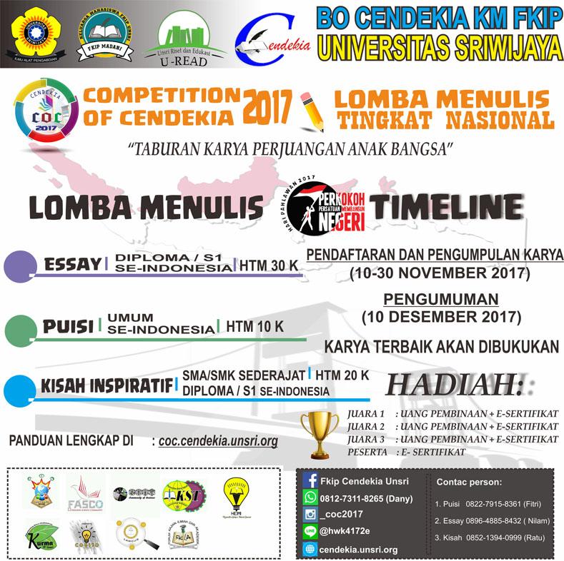 Lomba Menulis Tingkat Nasional Competition of Cendekia (COC) Untuk SMA Mahasiswa Umum