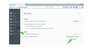 Firefox Security section settings