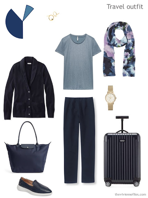 travel outfit in navy and muted teal