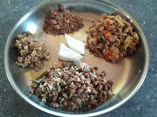 Ayudha Pooja special - Black eyed pea sundal, Hot-n-sour red poha, Sweet poha, Dry roasted poha as Pori