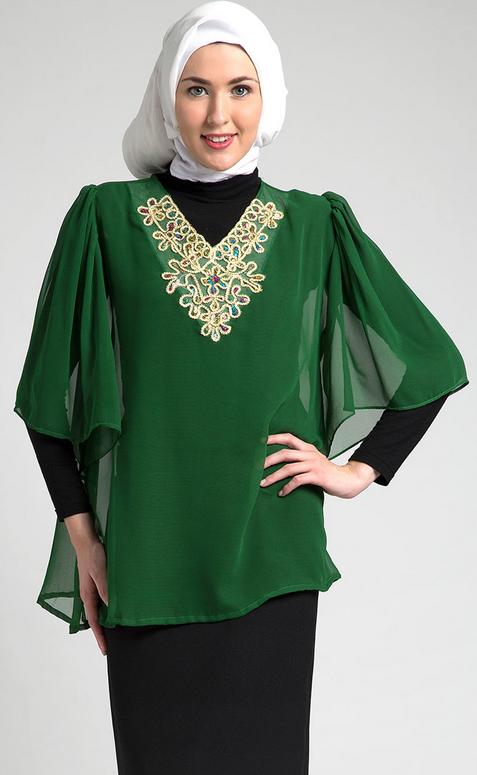 10 Contoh Trend Model Baju Muslim Kaftan Terbaru 2015
