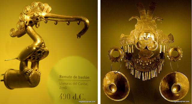 Adornos pré-colombianos no Museu do Ouro de Bogotá