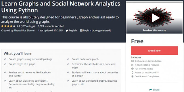 [100% Free] Learn Graphs and Social Network Analytics Using Python