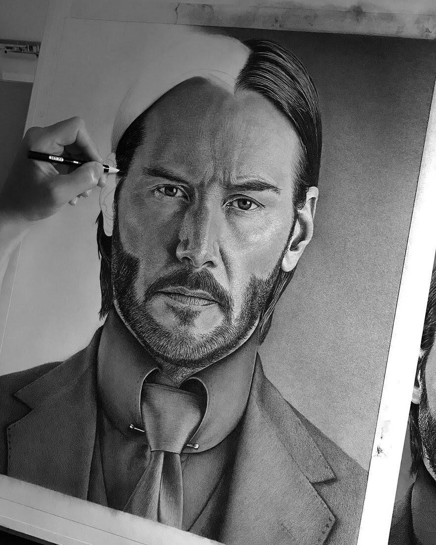 02-Keanu-Reeves-John-Wick-Justin-Cohen-Realistic-Portrait-Drawings-WIP-www-designstack-co