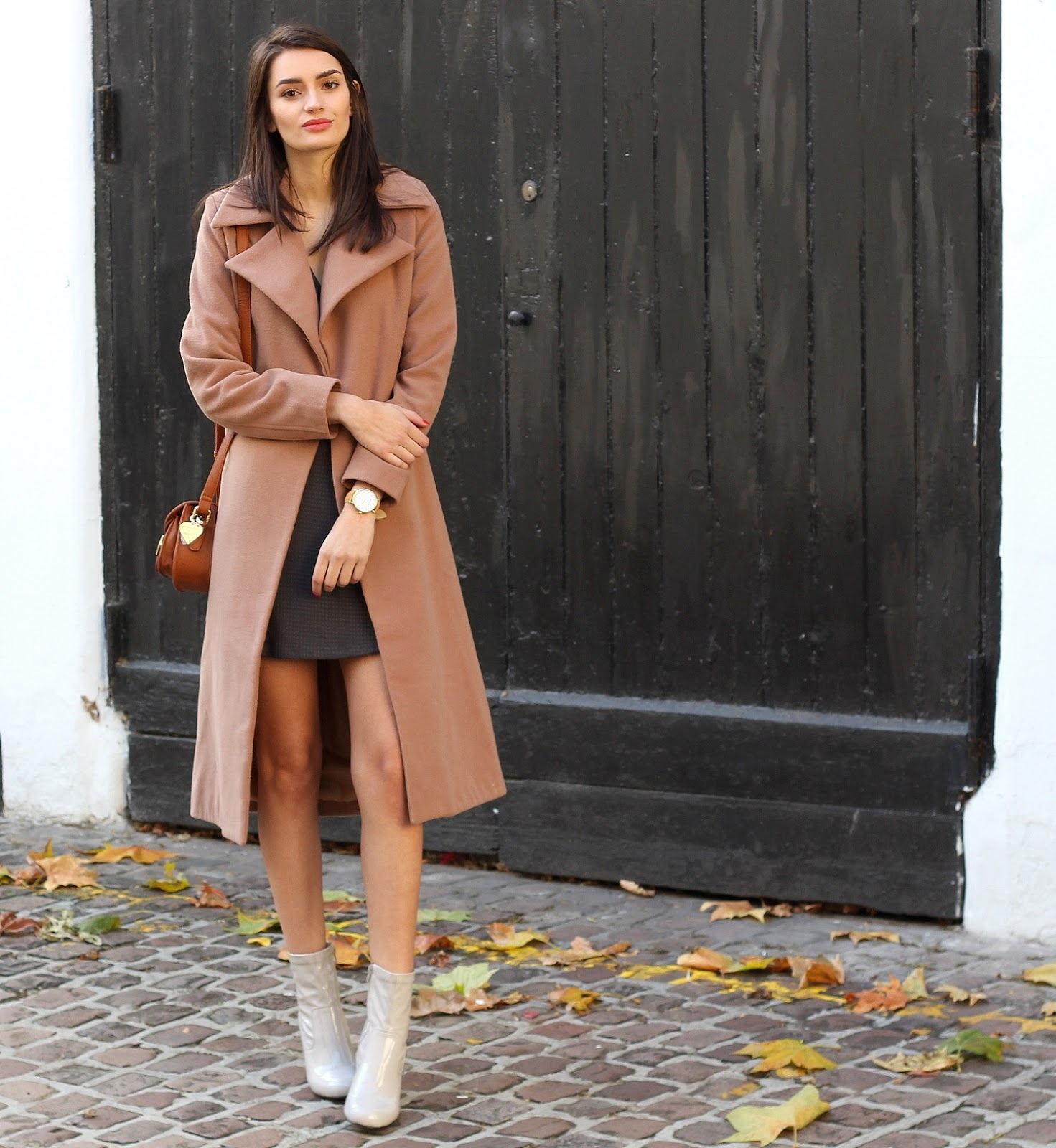 peexo fashion blogger wearing camel coat and patent boots