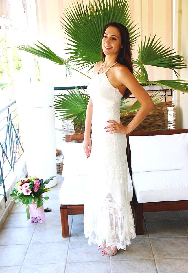 Lynne φορέματα white Lynne lace maxi dress
