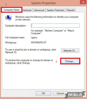 Lalu klik tab Computer Name > Change