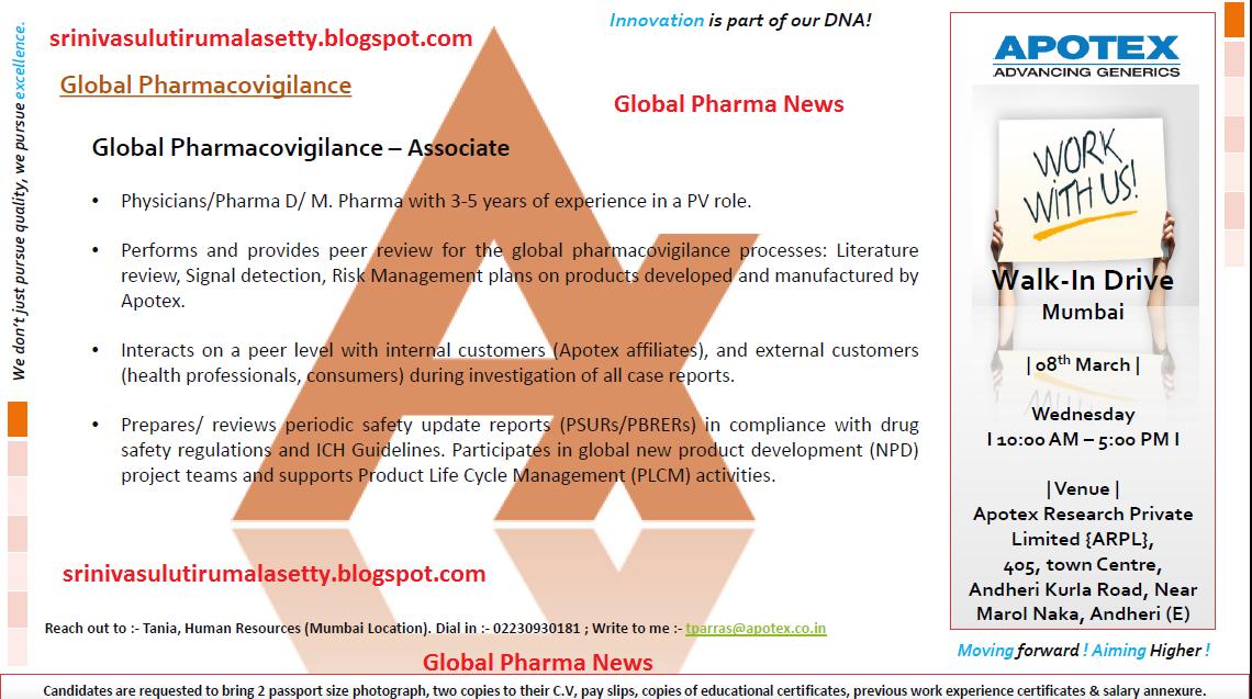Global Pharma News: APOTEX PHARMA WALK IN ON 08/03/2017 @ MUMBAI
