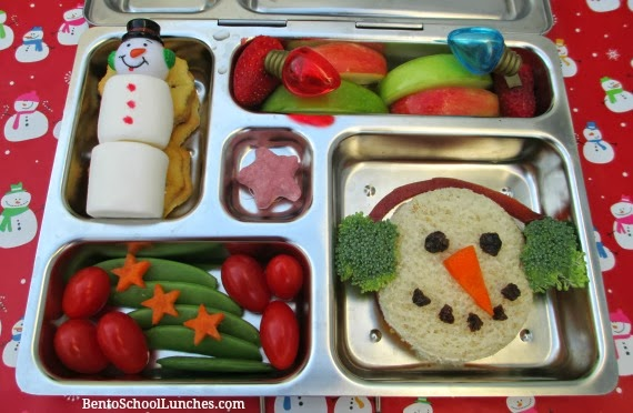 Snowman with earmuffs bento lunch