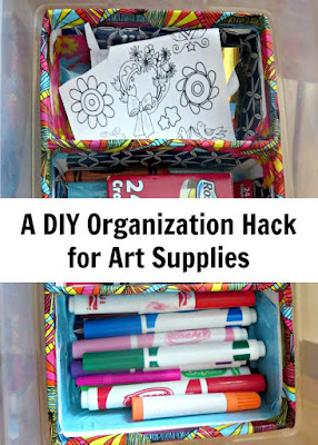 Build a custom art supplies storage out of cardboard
