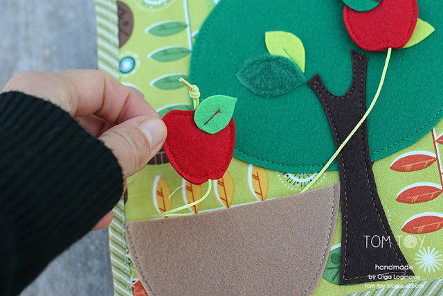Little quiet book for Dylan, Handmade busy book by TomToy, Apple tree