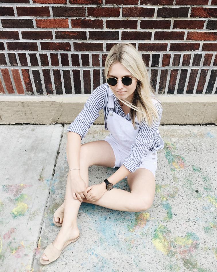heleneisfor, Cotton On shirt and shortalls, M.Gemi slides, Brooklyn, Shore Projects watch, Ray-Ban Lennon sunglasses, Hélène Heath, fashion over reason