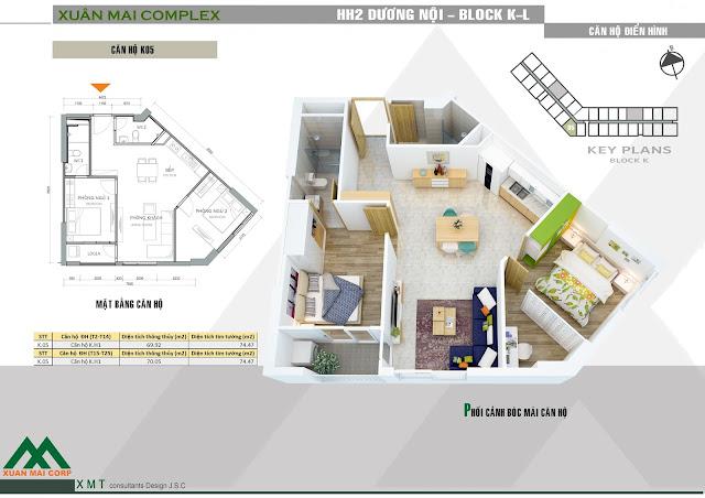 Thiết kế căn hộ 70m - Xuân Mai Complex