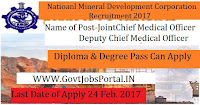 National Mineral Development Corporation Recruitment 2017– Joint Chief Medical Officer, Deputy Chief Medical Officer