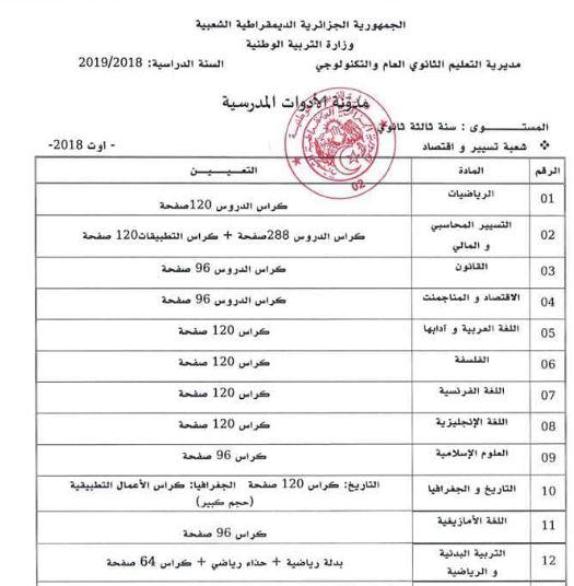 قائمة الادوات المدرسية للمراحل التعليمية الثلاث (ابتدائي، متوسط، ثانوي) المقررة من طرف وزارة التربية