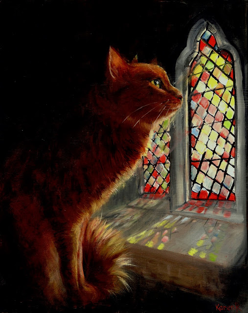 Advent - oil painting of a cat looking out of a stained glass window