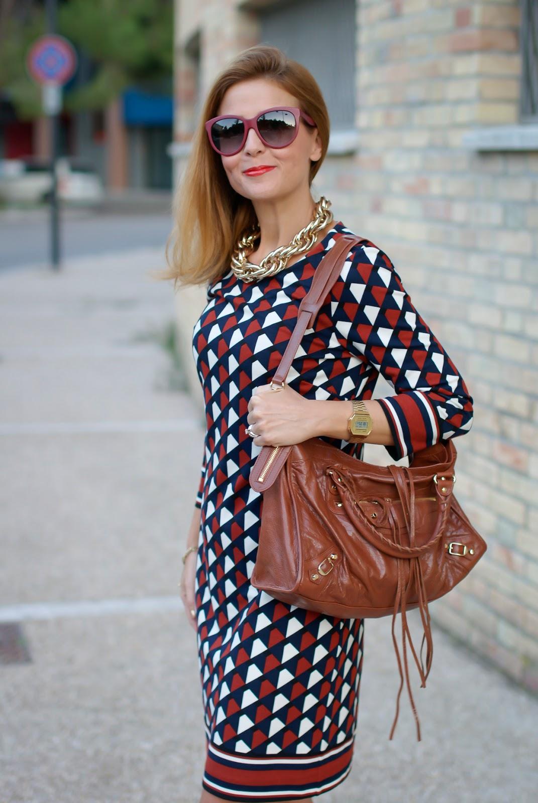 1.2.3 Paris Fall/Winter geometric print dress, Balenciaga City cognac on Fashion and Cookies fashion blog, fashion blogger style
