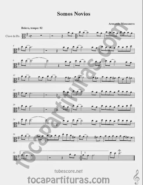 Somos Novios Partituras  en Clave de  Do para Viola y otros instrumentos en Clave de Do en 3º Línea… Sheet Music for Viola