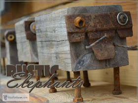 rustic elephants made from salvaged wood