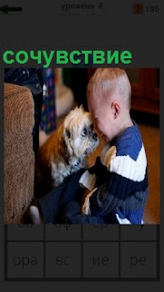 Ребенок сидя на полу плачет, а собака рядом сочувствует, приблизив свою морду близко к лицу мальчика