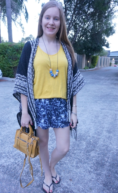 Rebecca Minkoff Ruana poncho print mixing with mustard tank shorts autumn SAHM style | away from blue