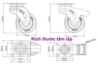 Bánh xe đẩy cao su, bánh xe đẩy có khóa, bánh xe đẩy