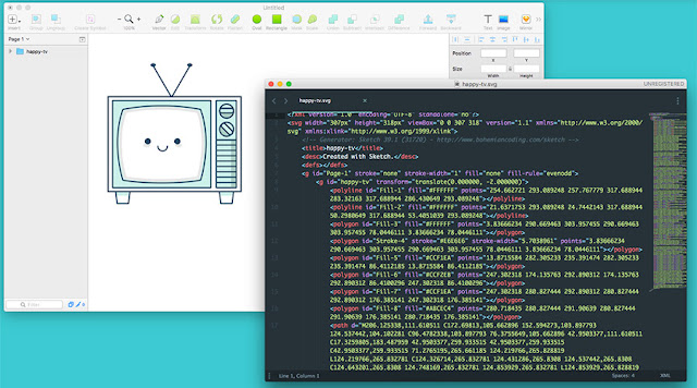 SVG image and code views