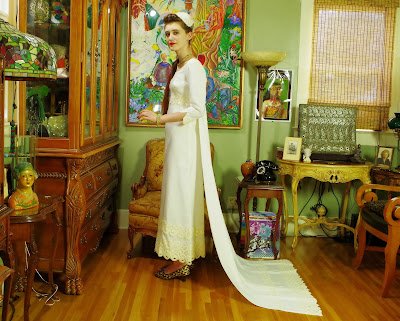 60s Simplicity Vintage White Linen Sheath Bridal Gown with Ecru Cotton Lace and Detachable Train