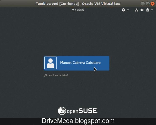 Damos click al usuario en el inicio de sesion gnome