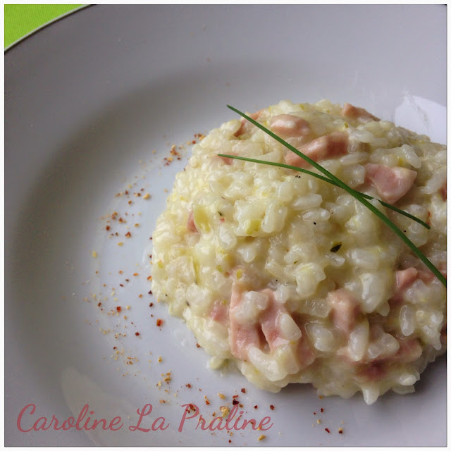 caroline la praline risotto aux courgettes lardons et. Black Bedroom Furniture Sets. Home Design Ideas
