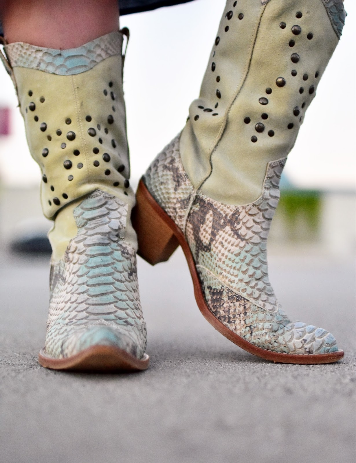 suede and snakeskin cowboy boots