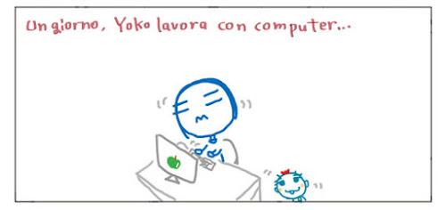 Un giorno, Yoko lavora con computer…