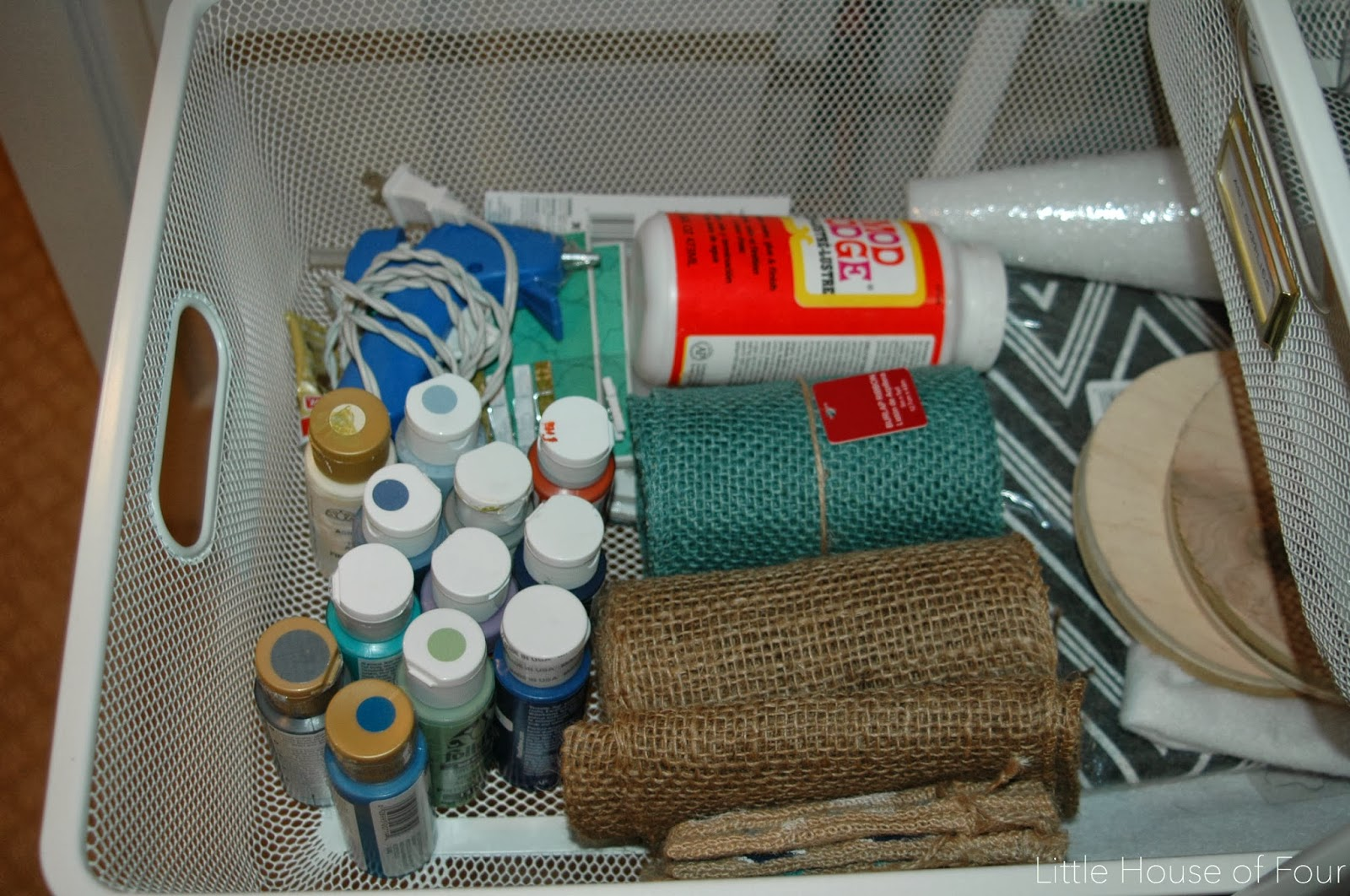 Organized craft closet, Ikea Algot System.